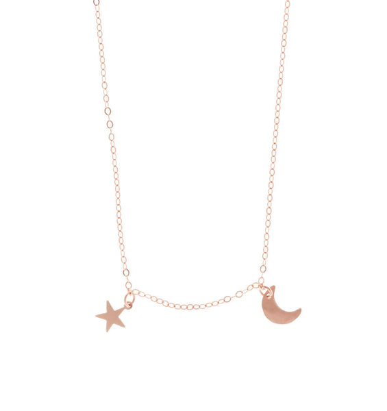 The Asher - Mini Moon and Star Necklace Rose Gold Color