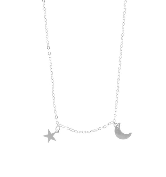 The Asher - Mini Moon and Star Necklace in Silver Color