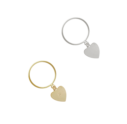 Avery Heart Charm Ring - Gold, Silver  >>
