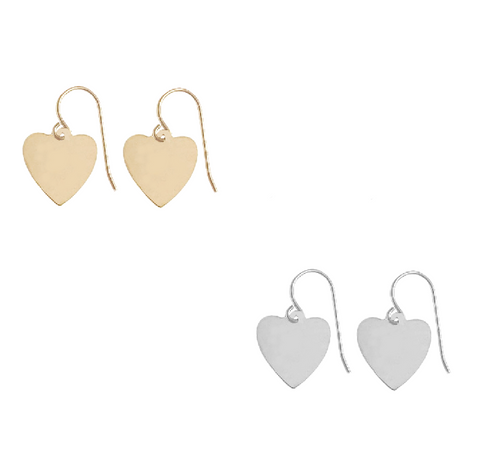 Avery Heart Earring in Gold, Silver