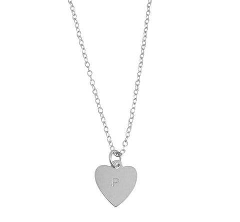 "Heart Initial Necklace 18/20"" Thicker Chain in Silver Color"