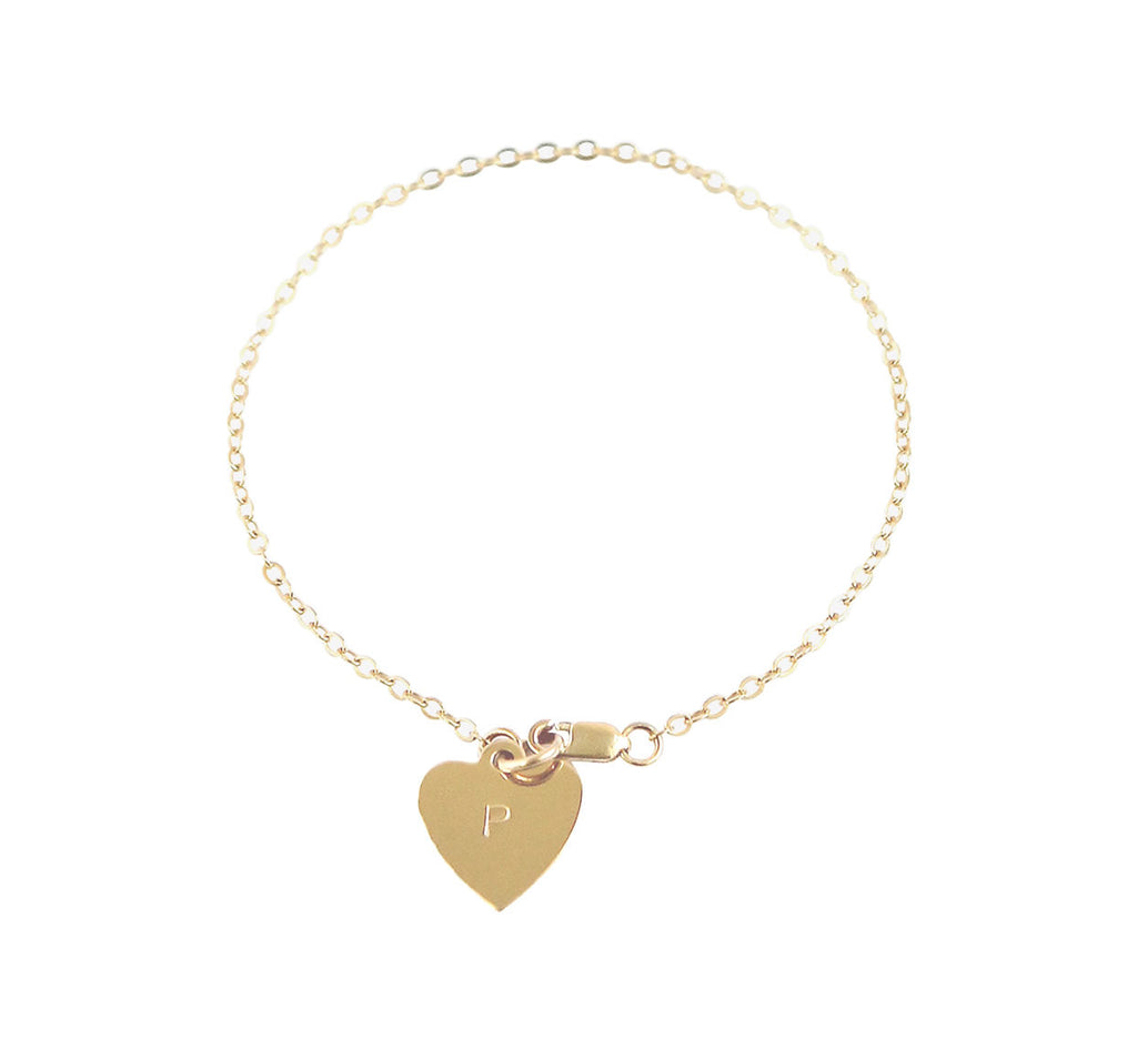 The Avery - Heart Initial Bracelet - Gold, Silver >>