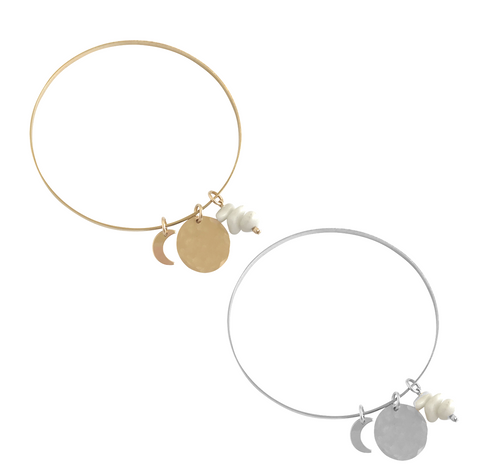 Bangle with Shell Chip, Disc and Moon- Gold, Silver >>