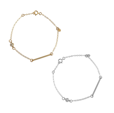 Bar and Crystal Disc Bracelet in Gold, Silver