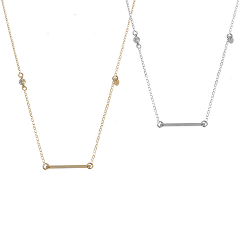 Bar and Crystal Disc necklace - Gold, Silver >>