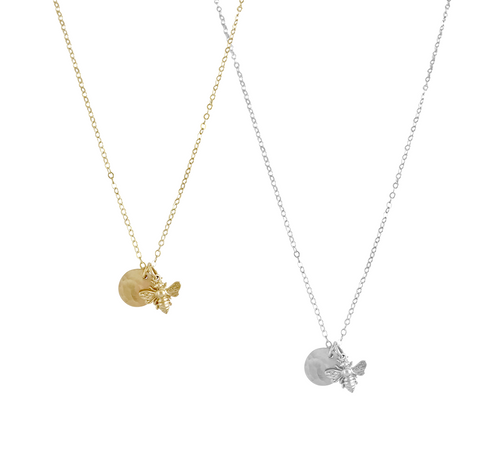 Mini Bee and Disc Necklace - Gold, Silver >>