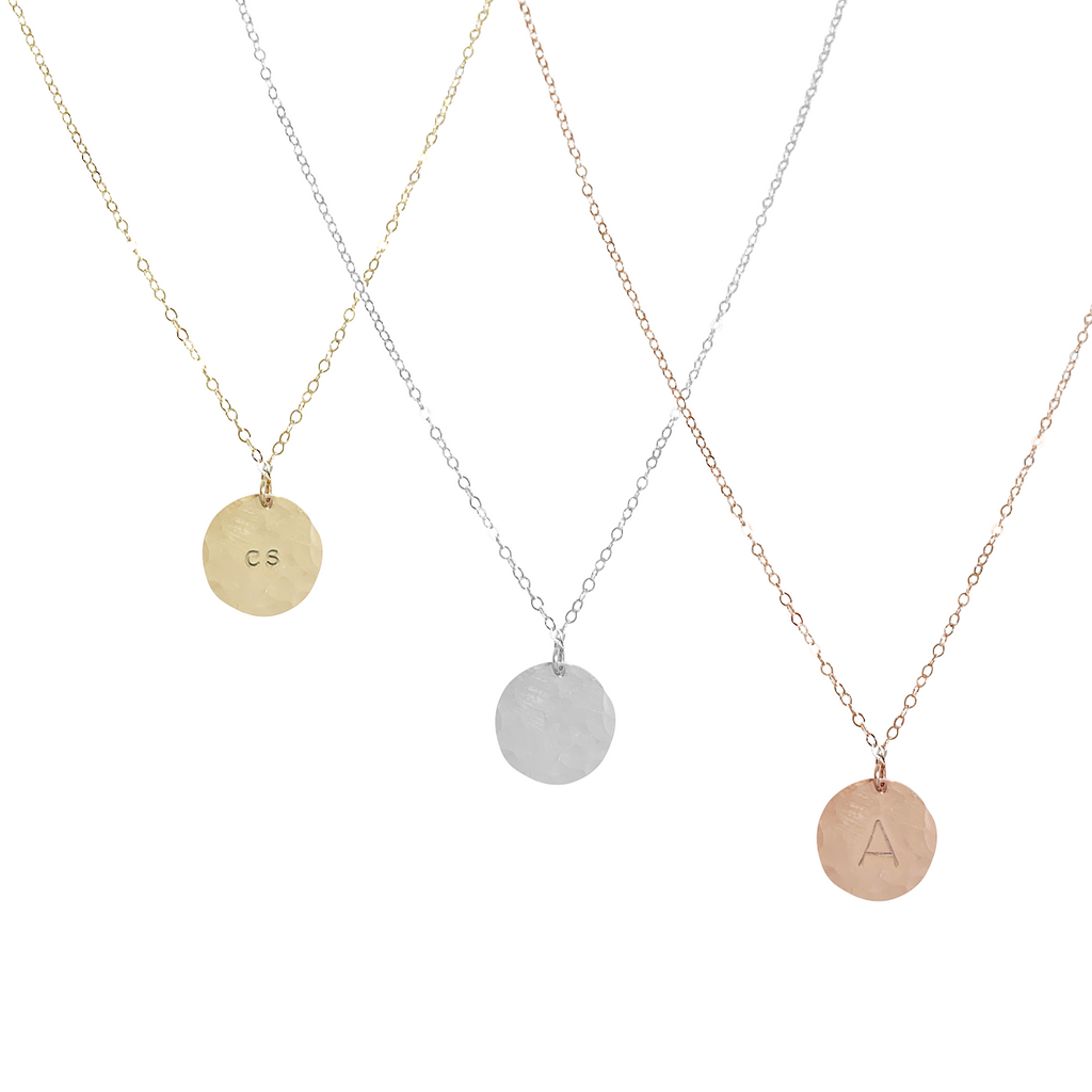 Bel Large Disc Necklace in Gold, Silver, Rose Gold