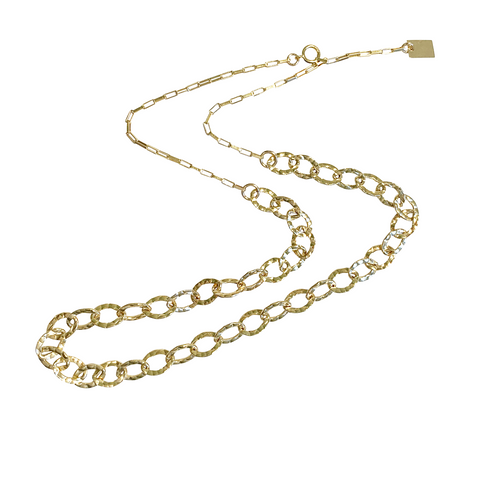 Billie Heavy Hammered Chain in Gold, Silver