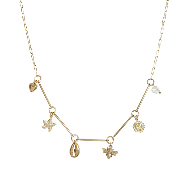 Capri Bar Charm Necklace - Gold, Silver >>