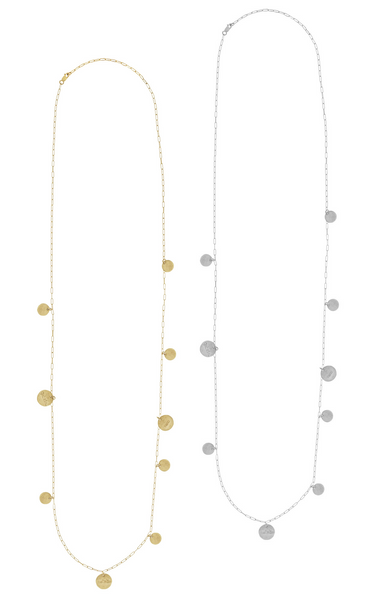 The Cara - Long Hammered Disc Necklace - Gold, Silver, Rose Gold >>