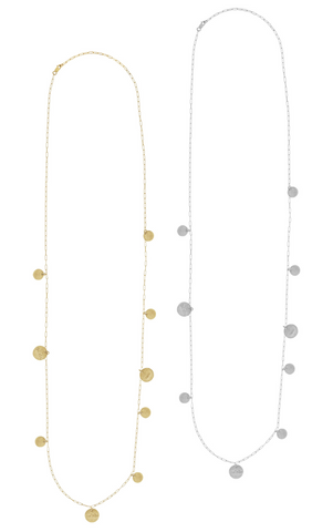 The Cara Long Hammered Disc Necklace in Gold, Silver