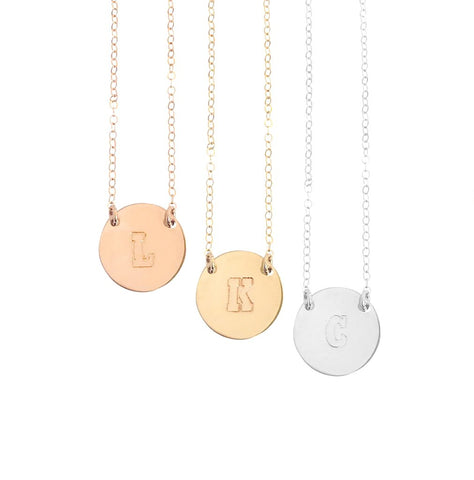 The Chloe - Block Font - Large Initial Necklace - Gold, Silver, Rose Gold >>