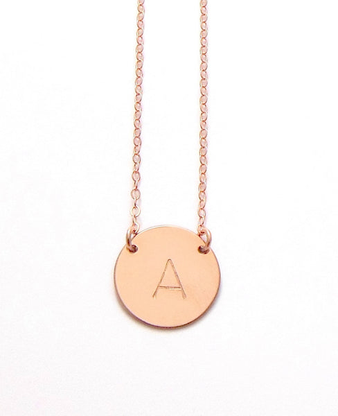 The Chloe Classic Font Large Initial Necklace in Rose Gold