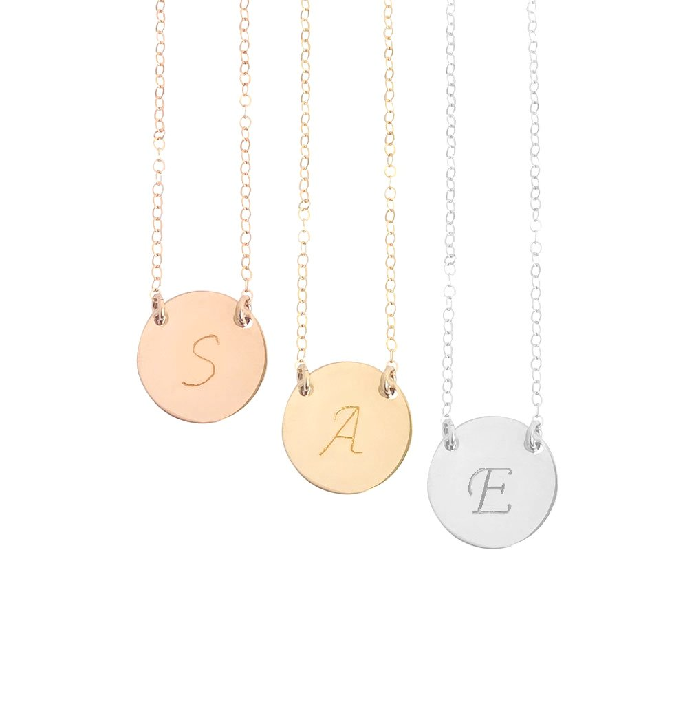 The Chloe - Script Font - Large Initial Necklace - Gold, Silver, Rose Gold >>