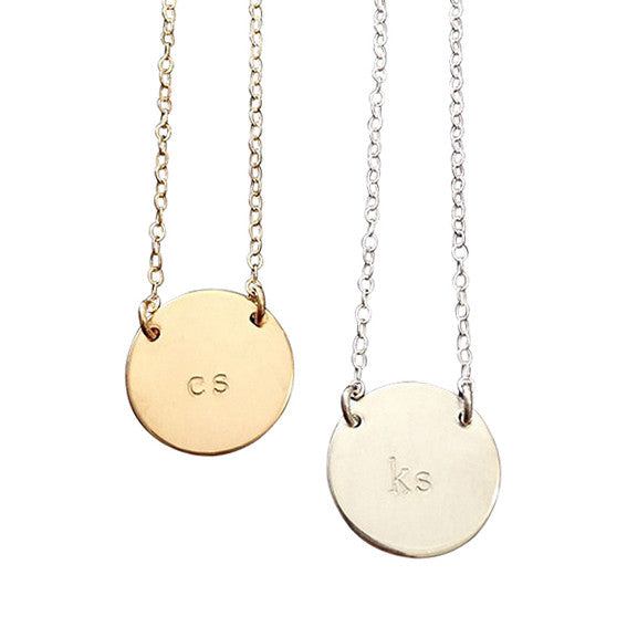 The Chloe Classic Font Large Initial Necklace in Gold & Silver-