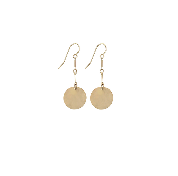 Hammered Classic Disc Earrings on double bar - Gold, Silver >>