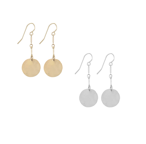 Hammered Classic Disc Earrings on Double Bar in Gold & Silver