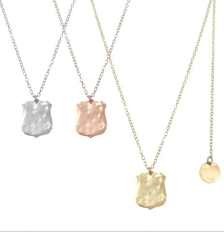 Crest Charm Necklace in Gold, Silver, Rose Gold