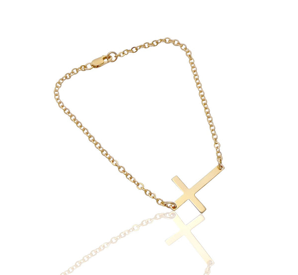 Cross Bracelet in Gold, Silver, Rose Gold
