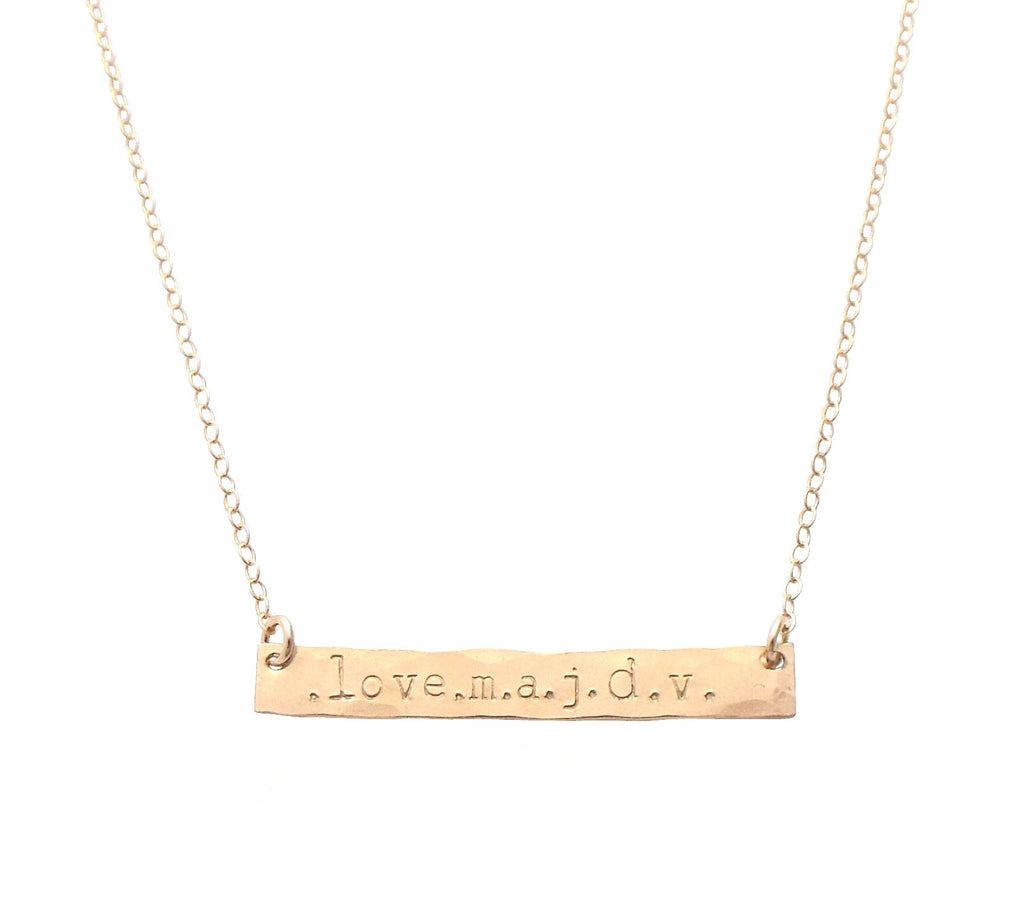 The Lara I.D. Bar Necklace in Rose Gold