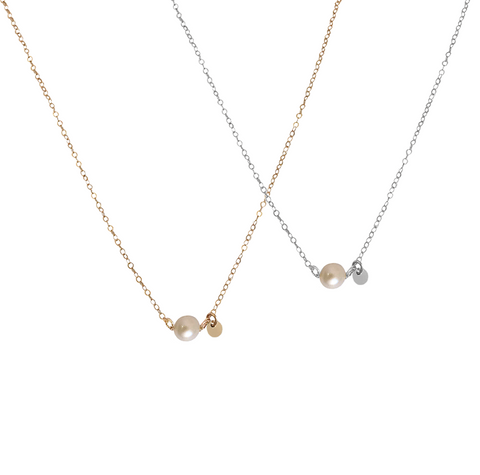 The Dallas - Single Pearl and disc Necklace - Gold, Silver >>