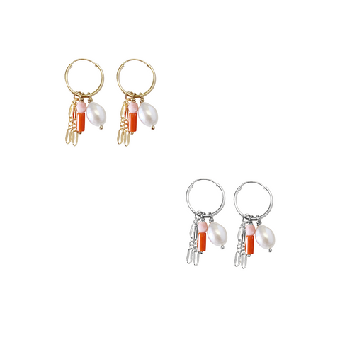Dusk - Pearl Coral charm earing - Gold, Silver, Rose Gold >>