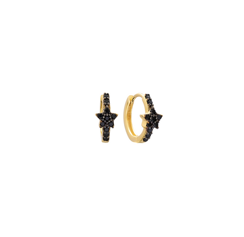 Dillon Black Onyx Star Hoop - Gold or Silver >>