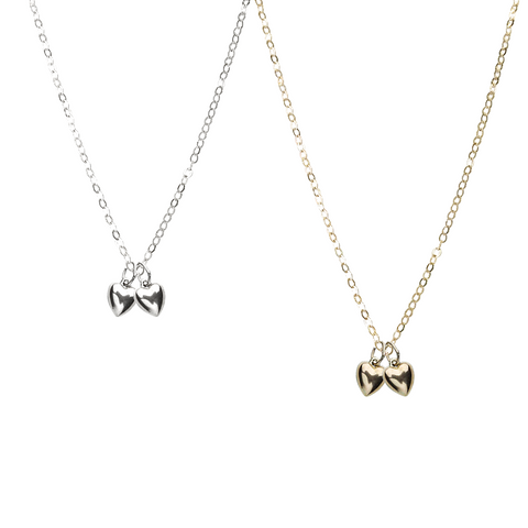 Double Puffy Heart Necklace - Gold, Silver >>>