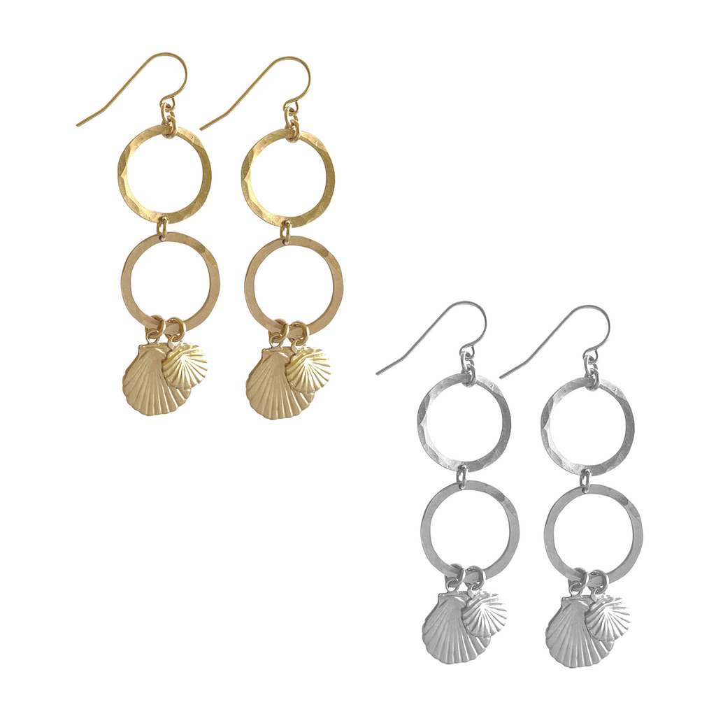 Hammered ring and double Shell charm Earring - Gold, Silver >>