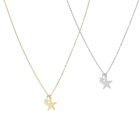 Double Star Necklace - Gold, Silver >>