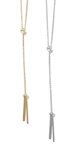Double Bar Lariat Necklace in Gold and Silver