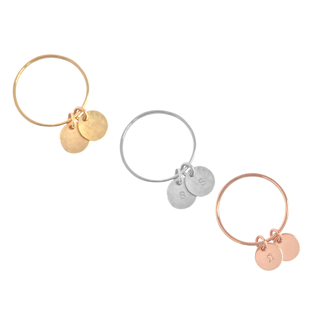 Double Disc Initial Ring - Gold, Silver, Rose Gold >>