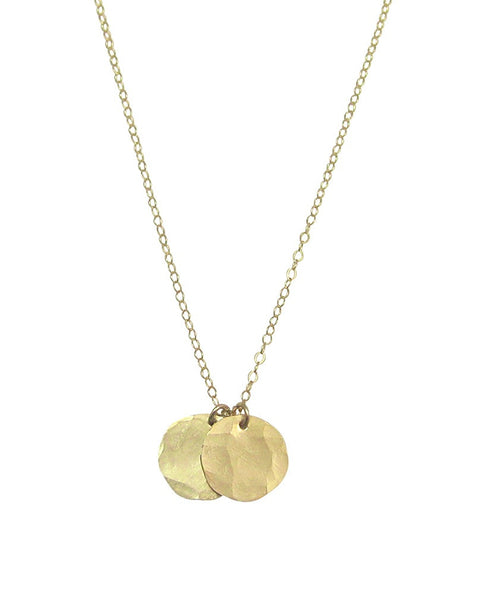 Double Hammered Disc Necklace - Gold, Silver, Rose Gold >>