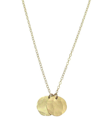 Double Hammered Disc Necklace in Gold