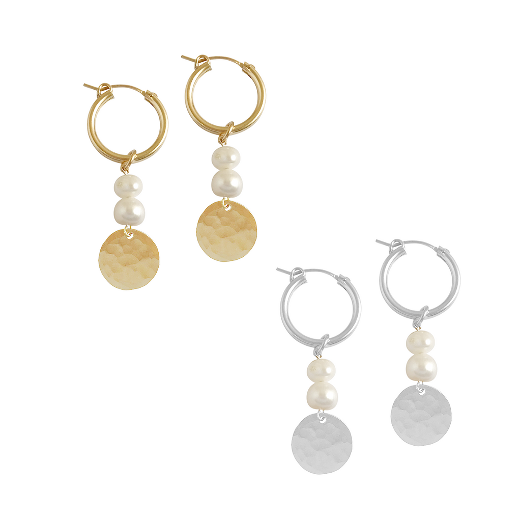 Double Pearl and Classic Disc Earring in Gold, Silver