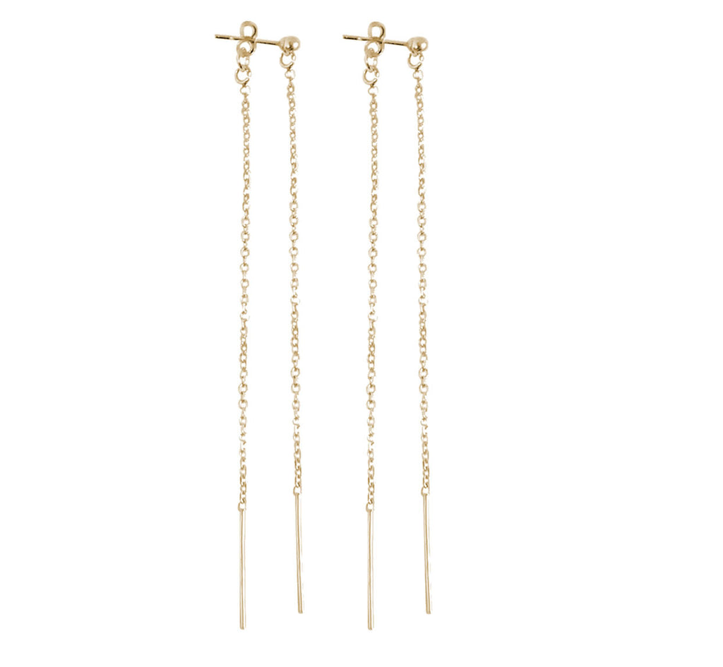 Double Long Line Earring - Gold, Silver, Rose Gold >>