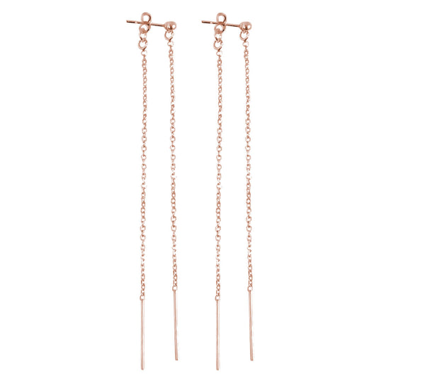 Double Long Line Earring in Rose Gold