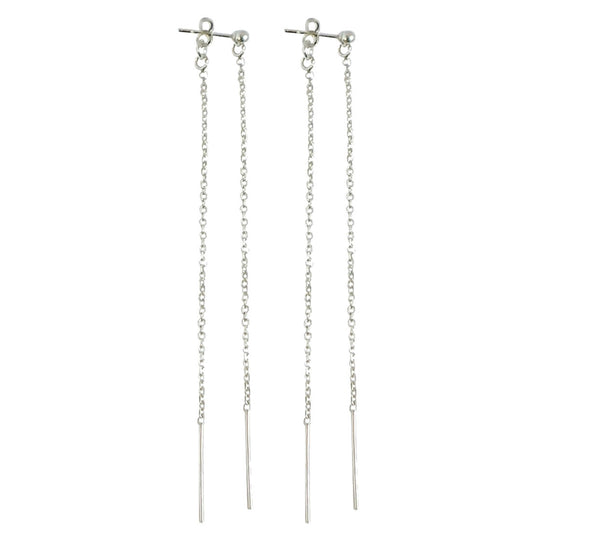 Double Long Line Earring in Silver