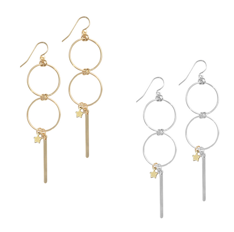 Double Ring with Star and Bar Earring in Gold, Silver