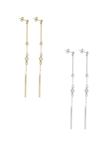 Double Bar and Crystal Long Line Earring in Gold, Silver