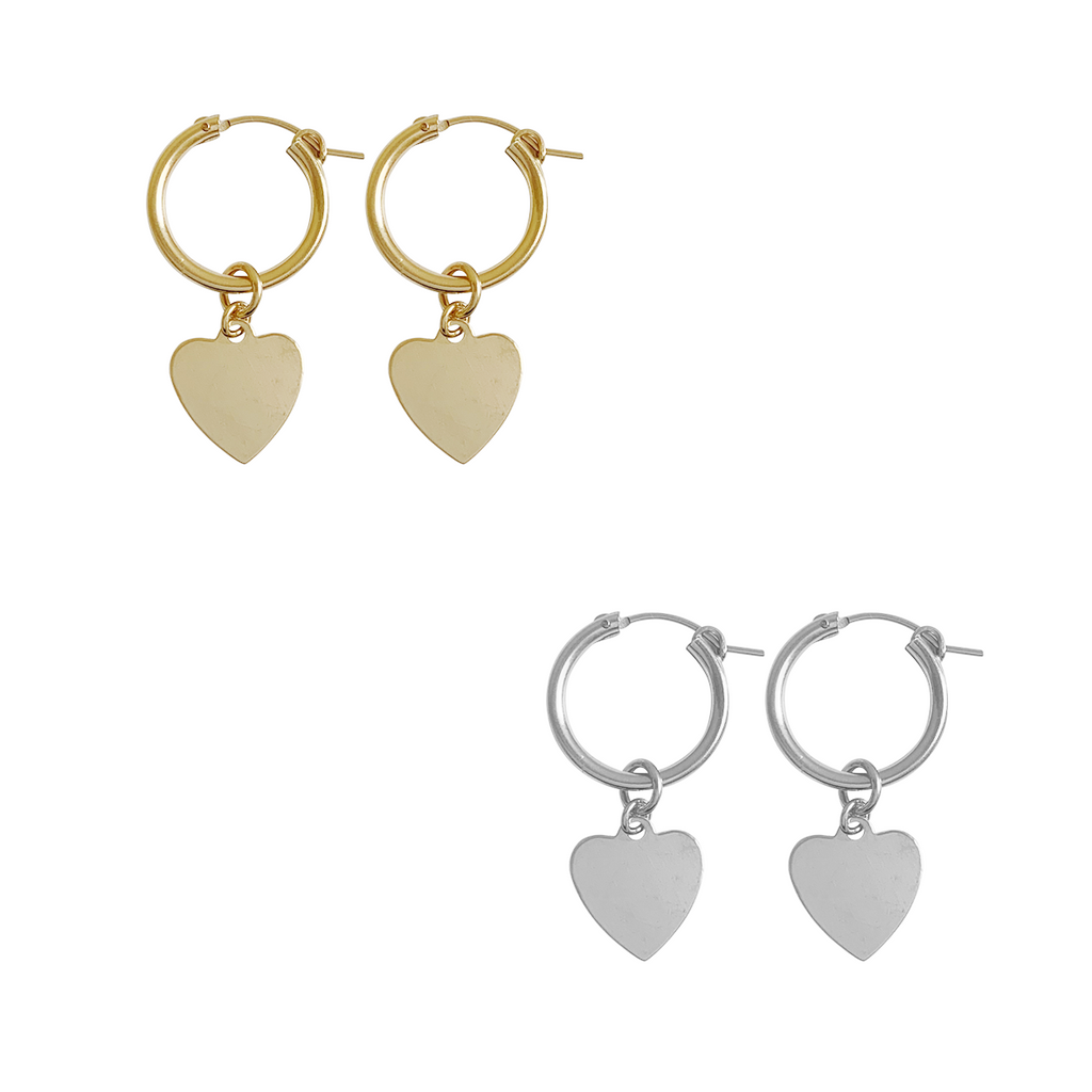 Paris Hoop - Avery Heart - Gold, Silver >>