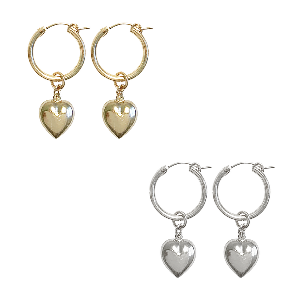 Copy of Paris Hoop - Puff Heart - Gold, Silver >>