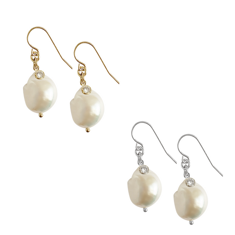 Baroque Pearl with Crystal in Gold, Silver