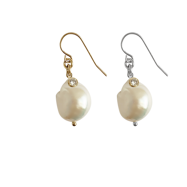 Baroque Pearl with Crystal in Silver