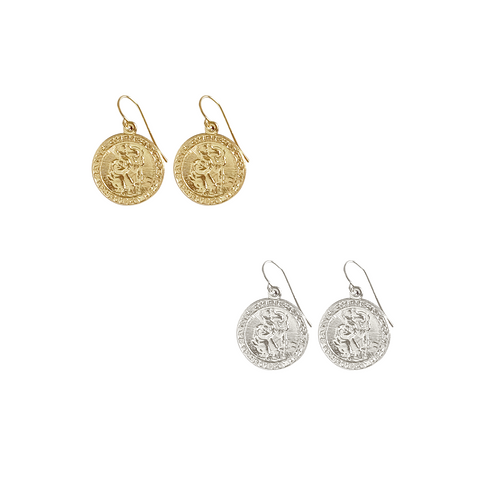 St Christopher Earrings in Gold, Silver Colors