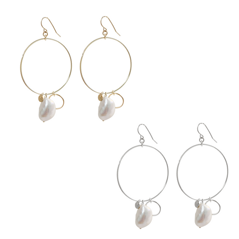 Large Ring and Pearl Earring in Gold and Silver Colors