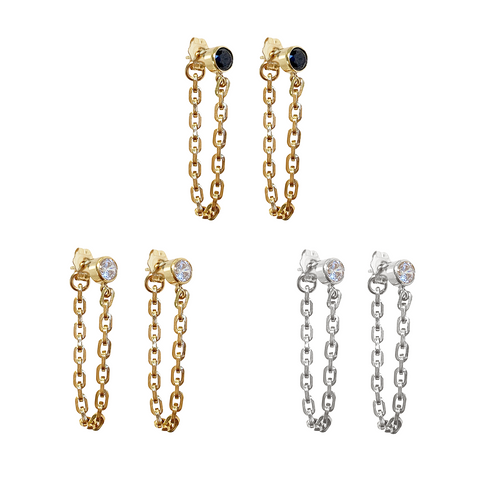 Oasis Drop Chain Earring with Crystal Black Onyx Stud