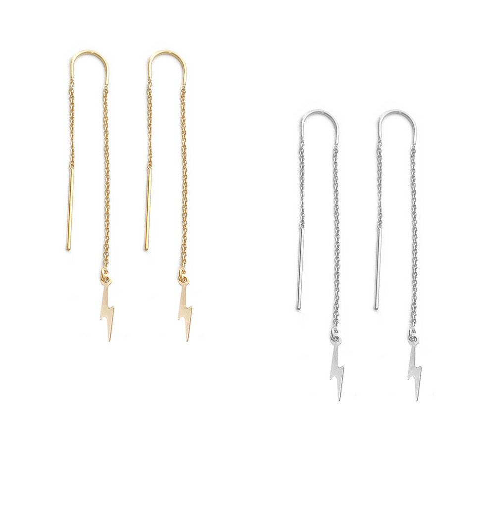 Ear Threads with Mini Lightening Bolt in Gold or Silver