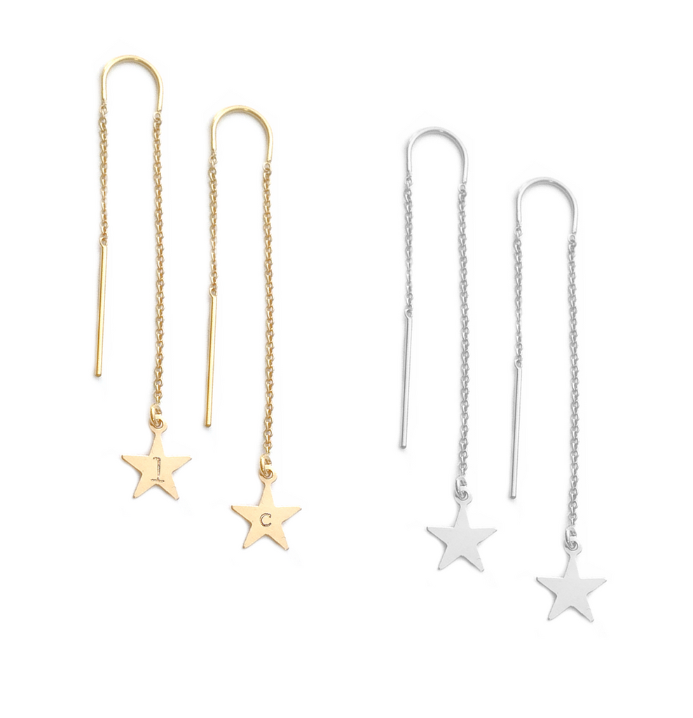 Ear Threads with Star - Gold or silver >>