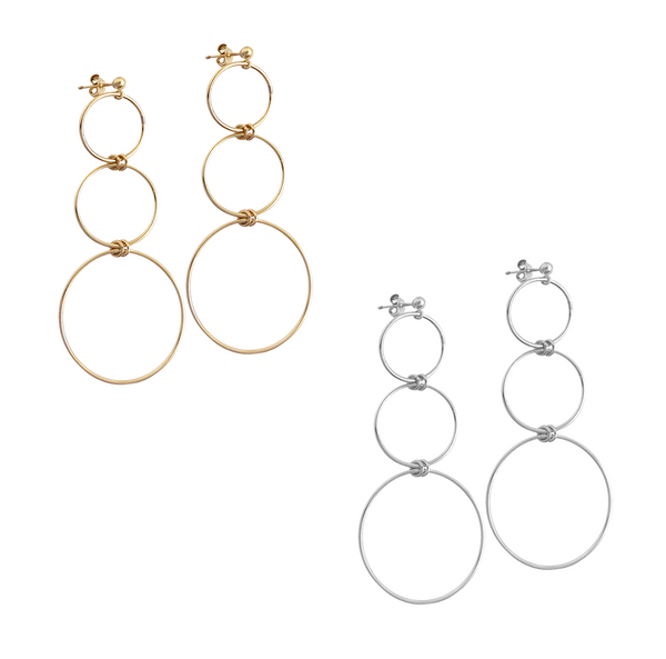 The Elm 3 ring earring in Gold, Silver